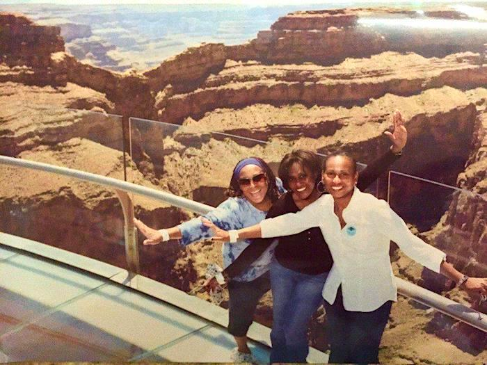 three women on the Skywalk at the West Rim