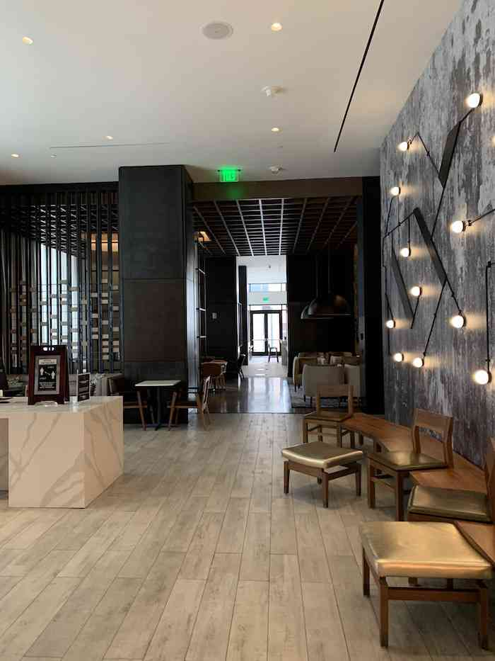 the lobby and lounge at The Canopy Atlanta Midtown Hotel