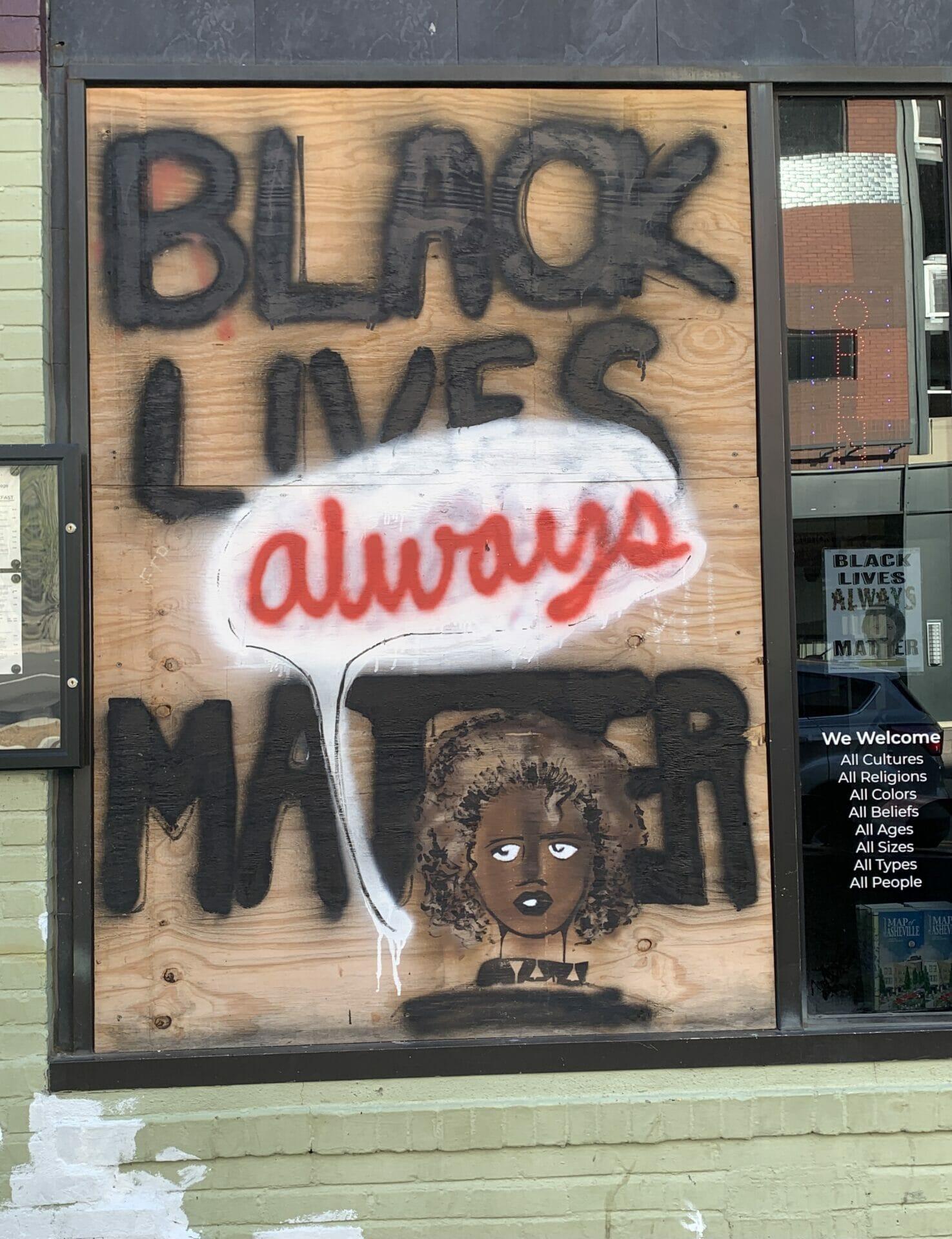 Black Lives Matter mural in Downtown Asheville