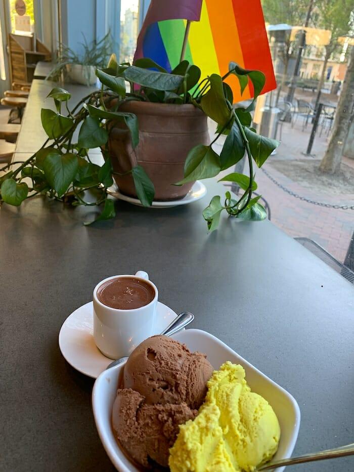 Liquid milk truffle and gourmet ice cream at French Broad Chocolate Lounge