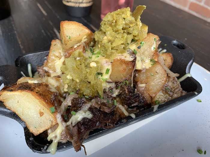 Short rib hash with potatoes and jalapeno relish at Benne on Eagle